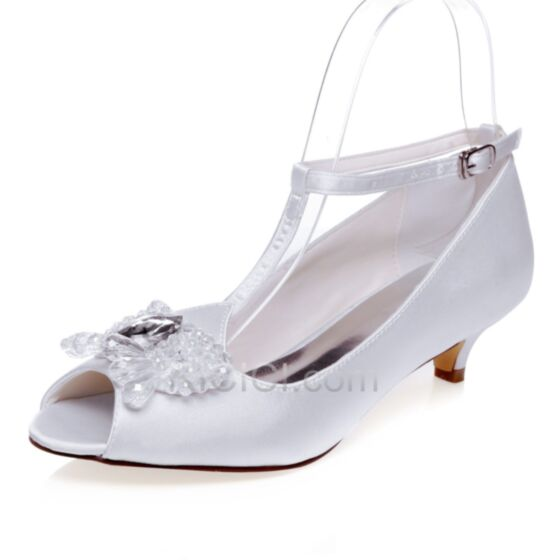 Satin Open Toe Heels Bridal Pumps 5 cm / 2 inch White Crystal T Strap