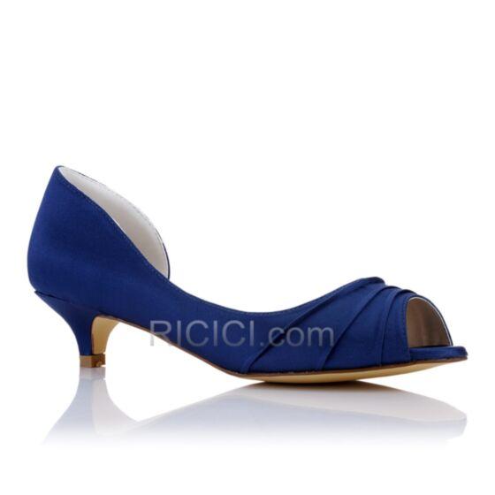 Bridesmaid Pumps Stilettos Flounce Open Toe Womens Shoes Satin Kitten Heel