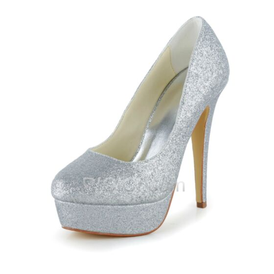 Stilettos Silver Sequin Prom Wedding Shoes For Women High Heels 13 cm / 5 inch