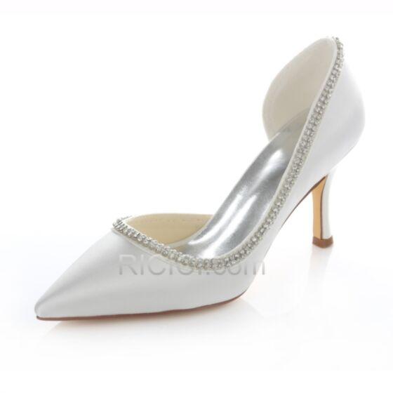 Stiletto Bridesmaid Bridal Womens Shoes High Heeled Rhinestones D orsay Heels Pumps 8 cm / 3 inch White Satin