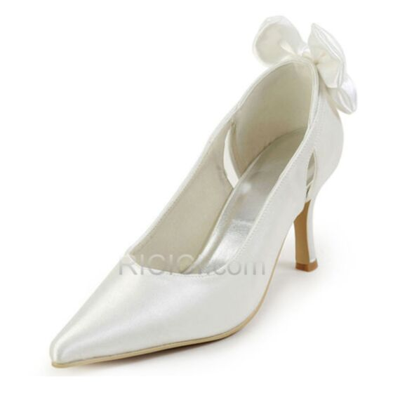High Heel 8 cm / 3 inch Satin Heels Spring Bridesmaid Bridal Shoes Pumps White Bow Hollow Out