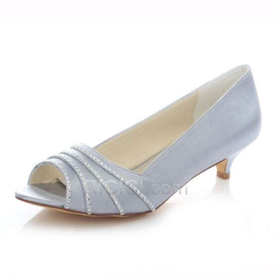 Rhinestones Silver Heels Bridesmaid Wedding Pumps 4 cm Summer Shoes Open Toe Low / Kitten Heel Stilettos Satin