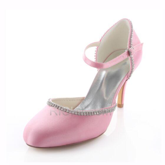 Bridesmaid Bridal Pumps 8 cm / 3 inch High Heels White Stilettos Rhinestones Ankle Strap D orsay Summer Womens Shoes