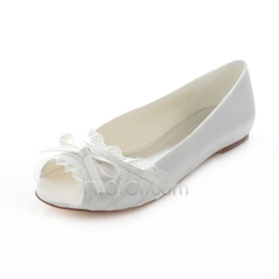 With Lace Bow White Bridal Bridesmaid Womens Shoes Pumps Flats Satin Spring
