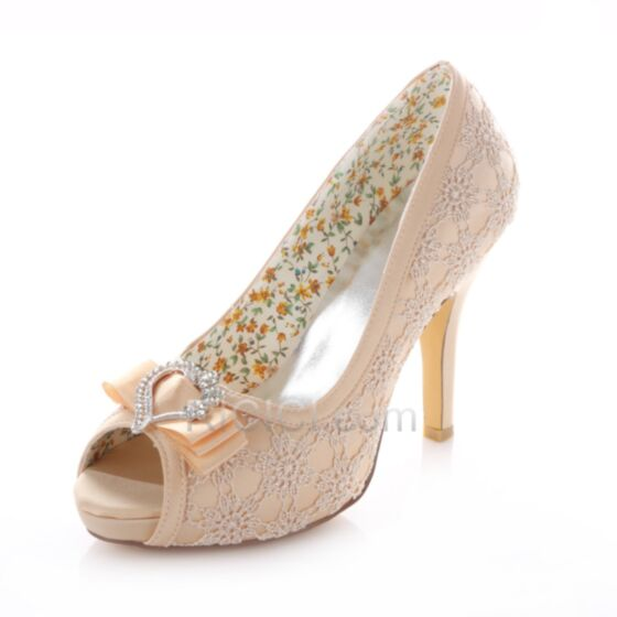 High Heels Wedding Bridesmaid Pumps With Lace Bow Rhinestones Champagne Stiletto 10 cm / 4 inch Shoes For Women Summer Satin