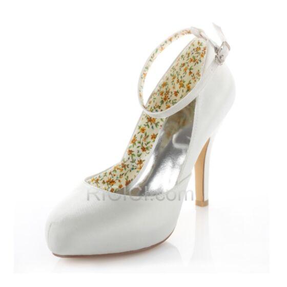 10 cm / 4 inch Stiletto Ankle Strap Satin Spring Fall Heels White Bridesmaid Wedding Pumps High Heel
