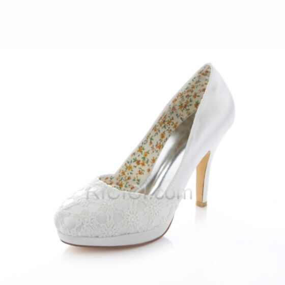 Bridal Bridesmaid Pumps Shoes White With Lace Heels 10 cm / 4 inch Round Toe Spring Fall High Heeled