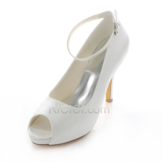 Satin Ankle Strap Heels Spring Summer High Heeled Bridal Bridesmaid Shoes For Women Pumps 10 cm / 4 inch Peep Toe Stilettos White