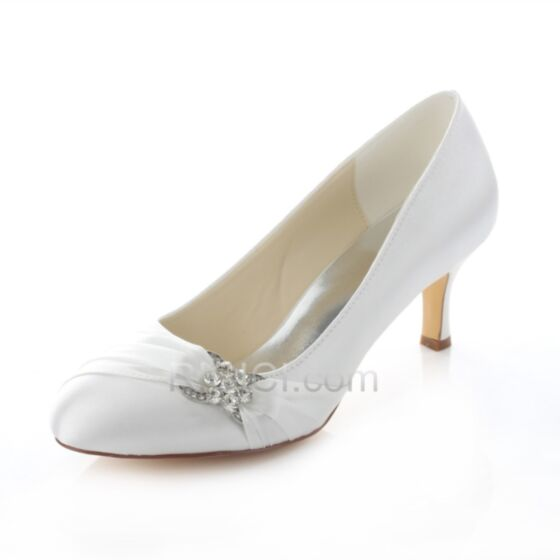 7 cm Spring Summer Heels Bridal Bridesmaid Shoes For Women Mid Heels Pumps Satin White