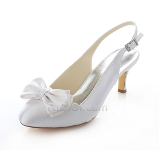 Bow Slingbacks Stilettos Bridesmaid Bridal Pumps White Pointed Toe Satin Womens Shoes Mid Heels