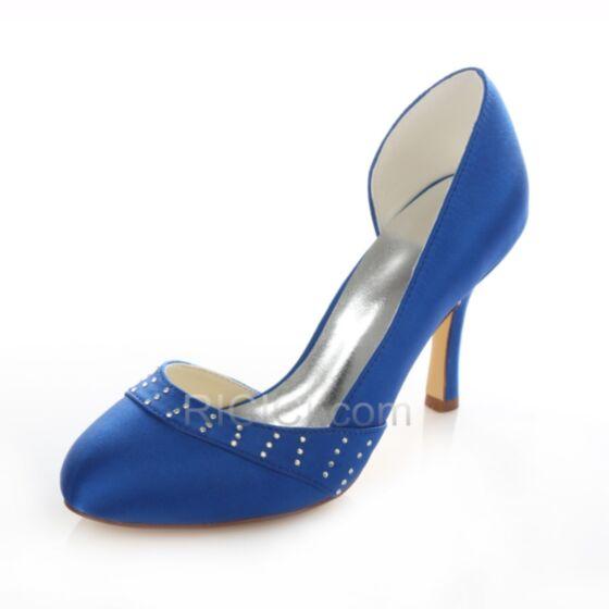 Spring Fall 9 cm Stilettos Satin Royal Blue Wedding Bridesmaid Pumps Shoes High Heel Rhinestones Heels