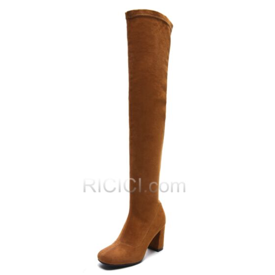 Suede Fur Lined 8 cm / 3 inch Thick Heel Brown Boots For Women