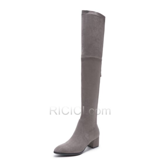 Chunky Heel Grey Leather Boots For Women Pointed Toe Fur Lined Suede Over The Knee / Thigh High