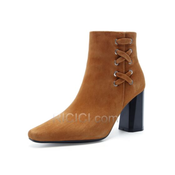 Lace Up Suede Leather Boots For Women High Heel Brown Booties 8 cm / 3 inch Chunky Heel