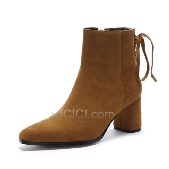 Womens Boot Pointed Toe Chunky Heel Booties Leather Lace Up Suede