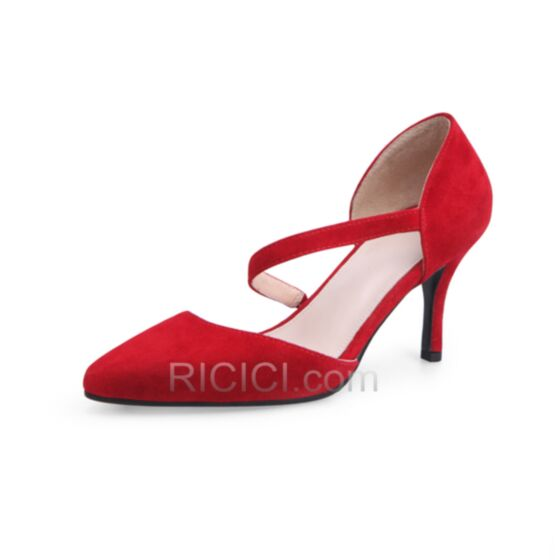 8 cm / 3 inch Stiletto Heel High Heel Pumps Red Shoes Ankle Strap D orsay Suede