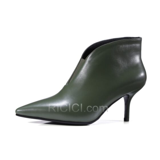 Patent Leather Pointed Toe Boots For Women Stilettos Ankle Boots Fur Lined Olive Green