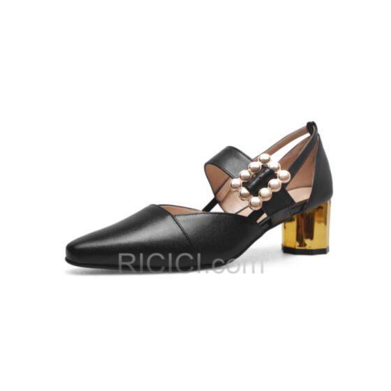 Mid Heels Mary Janes Sandals Black Leather Summer