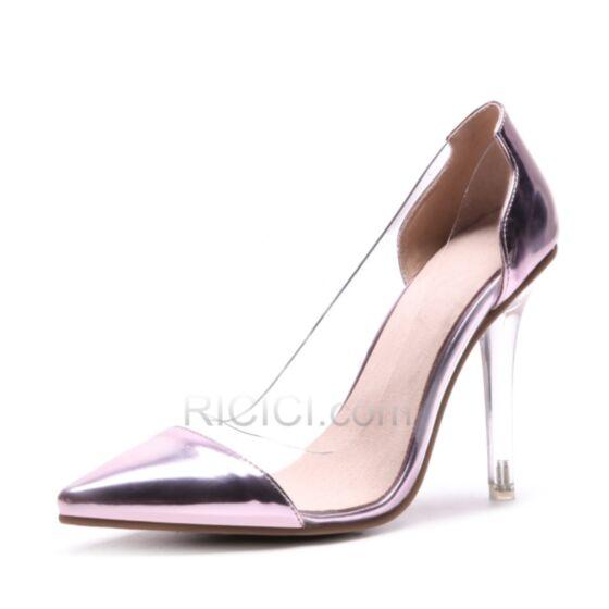Spring See Through 4 inch Pumps Dress Shoes Stilettos Pink Patent High Heel