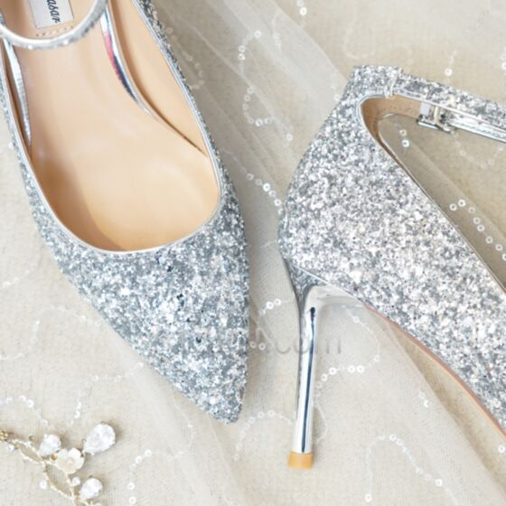 With Ankle Strap Stiletto Heels Pumps Shoes Pointed Toe Sparkly Silver Wedding Shoes 2019 Prom Shoes 3 inch High Heel Glitter