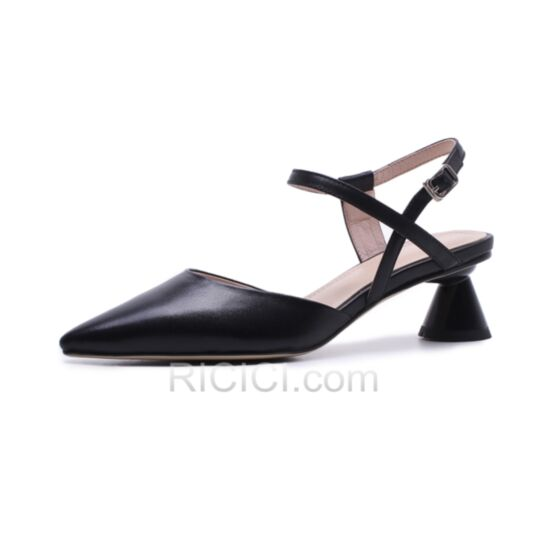Strappy Thick Heel Pointed Toe Ankle Strap 2018 Summer Black Leather Heels Sandals 6 cm