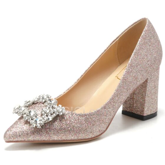 Mid Heel Block Heels Glitter Pumps Spring Sparkly Pointed Toe Dress Shoes Rose Gold Bridal Shoes
