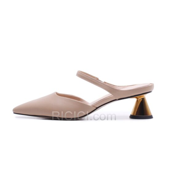 Spring 4 cm Kitten Heel Pointed Toe Nude Ankle Strap Womens Sandals Thick Heel