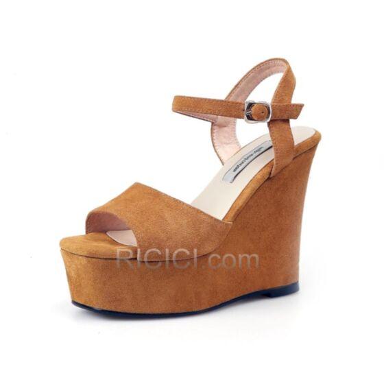 Simple Platform Camel Wedges Heels Summer Leather Ankle Strap High Heel Sandals 5 inch