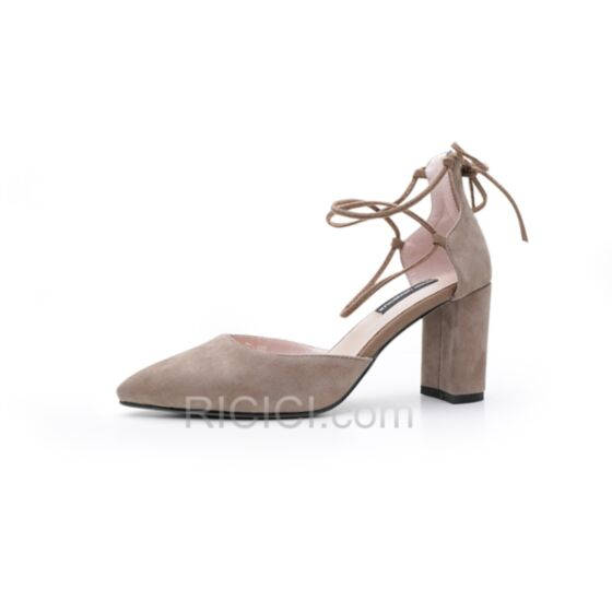 Ankle Strap D orsay Suede High Heels 8 cm / 3 inch Taupe Leather Chunky Heel Pointed Toe Sandals