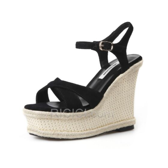 Strappy Bohemian Black Leather Wedges Sandals High Heel Espadrilles 5 inch Platform