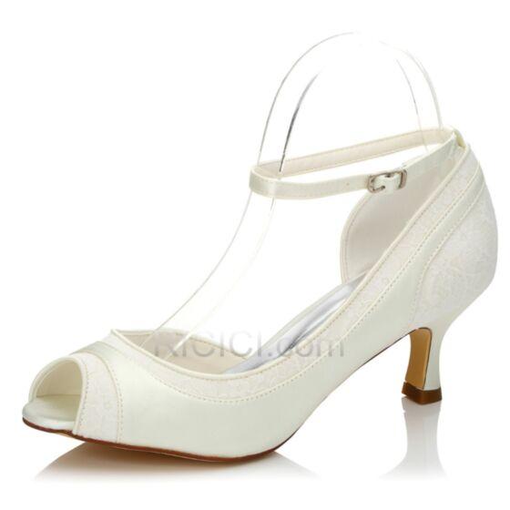 Bridals Wedding Shoes Mid Heels Stilettos 6 cm Ankle Strap Peep Toe Pumps White