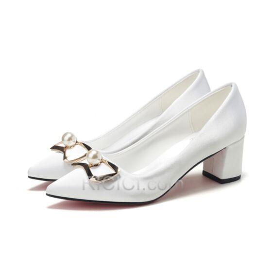 Bridal Shoes Elegant Kitten Heel Thick Heel Bridesmaid Shoes White Pumps Shoes