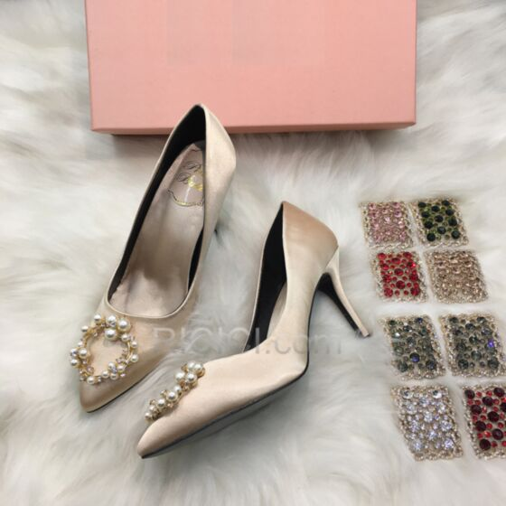 With Pearl Champagne Classic Stilettos Bridesmaid Shoes Pointed Toe Wedding Shoes 3 inch High Heel Pumps