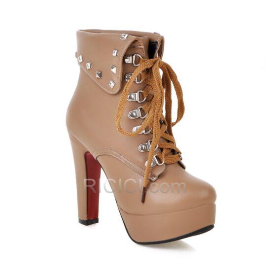 Boots For Women Stiletto Heels High Heel Platform 2018 Camel Studded Fur Lined Booties