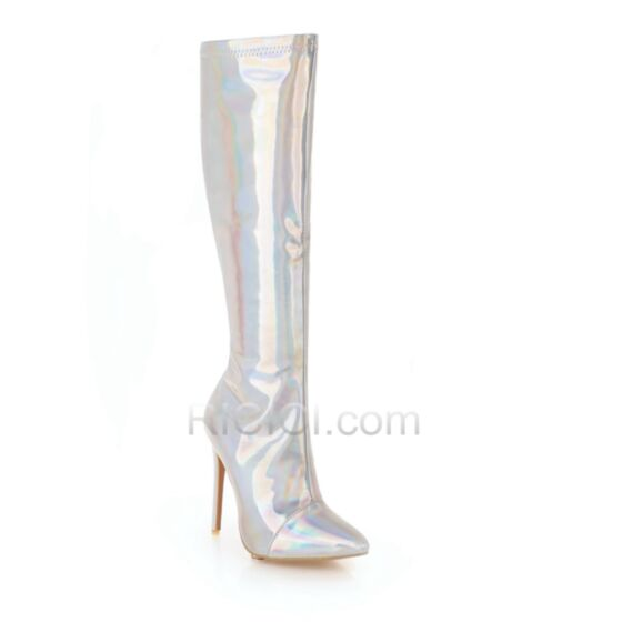 Sparkly Fur Lined Boots High Boots Stiletto Heels Knee High Silver 2018 High Heels
