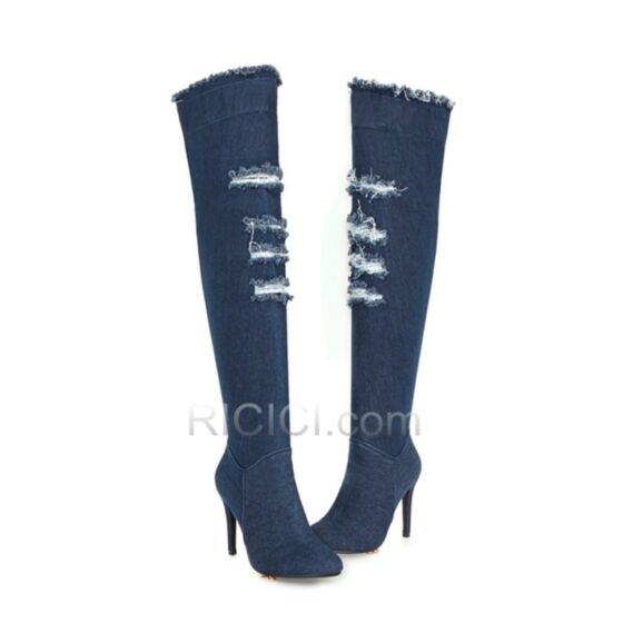 4 inch Pointed Toe Stilettos Boots Distressed High Heels Over Knee Boots 2018