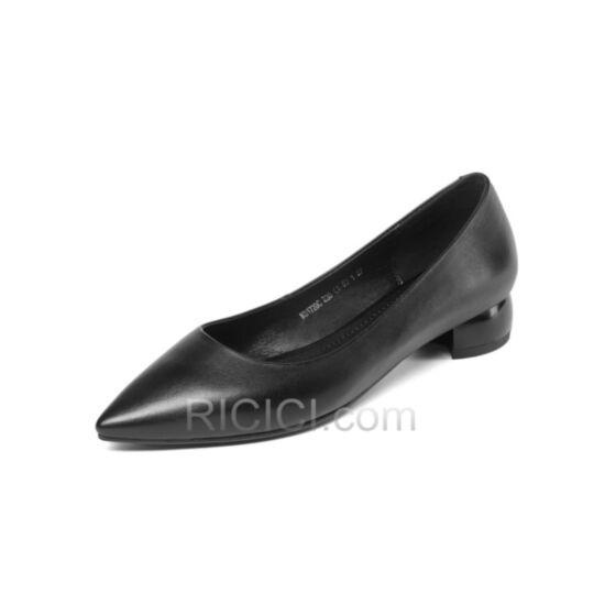 Thick Heel Simple Kitten Heel Office Shoes Block Heels Black Leather Pumps