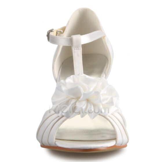 Bridesmaid Shoes White Wedding Shoes Stiletto Heels Sandals Mid Heels