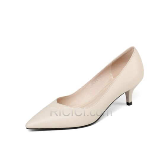 Leather Pointed Toe Stilettos Pumps Low Heel Classic 5 cm / 2 inch 2018 Office Shoes