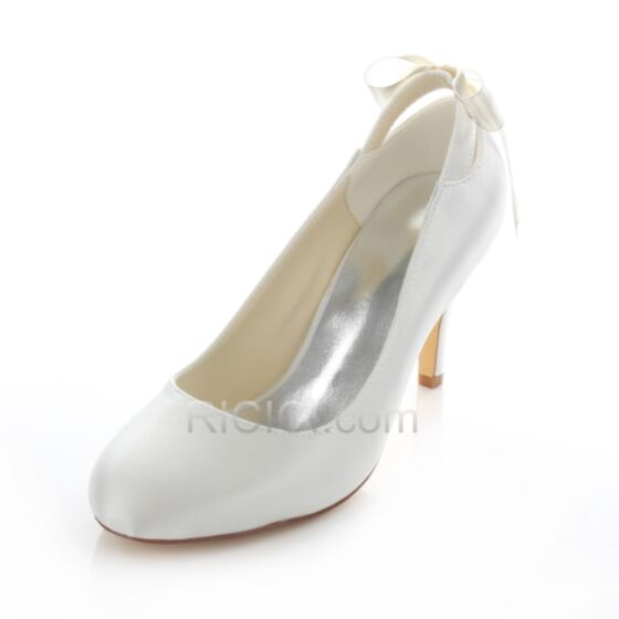 8 cm / 3 inch Wedding Bridesmaid Pumps Spring Heels Pointed Toe High Heel Bow Stilettos Shoes Satin