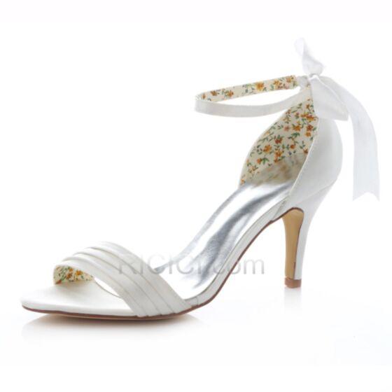 Bianche Scarpe Matrimonio Tacco Alto Con Fiocco Spuntate Sandali Raso Con Cinturino Alla Caviglia
