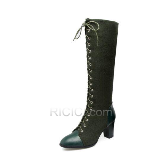 Camoscio Stringate Vintage Verde Militare Con Pelo Interno Casual Stivali Polpaccio Punta Tonda 8 cm Tacco Alto