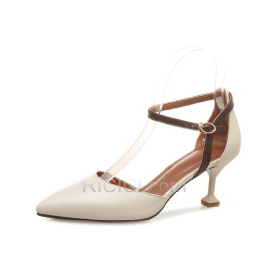 Tacco A Spillo Tacco Medio Cinturino Alla Caviglia Sandali Bianco