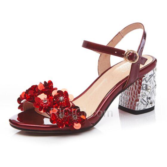 Sandali Donna Luccicante Cinturino Alla Caviglia Tacco Medio 7 cm Con Strass Gioiello Con Tacco Largo Rosse