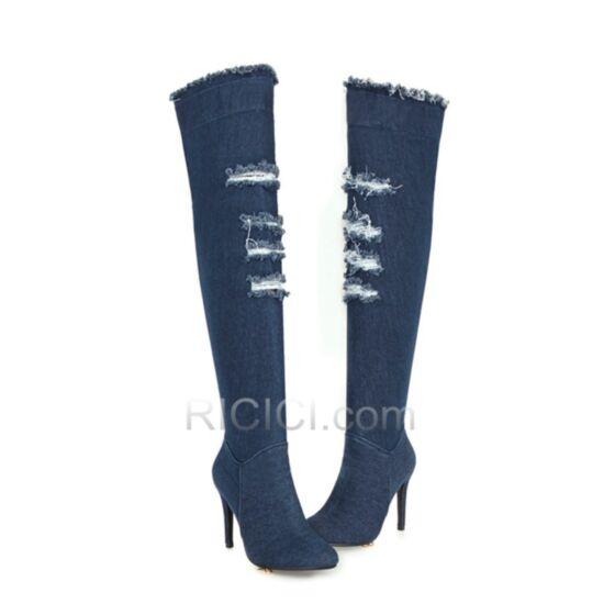 Inverno Gambale Largo Tacchi Spillo Strappati Jeans Con Pelo Interno Tacco Alto Blu Scuro Uscire Stivali Alti