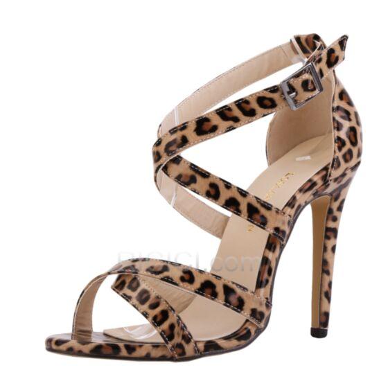 Similicuir Sandales Haut Sexy Leopard Cuir Vernis Lanières Talons Aiguilles