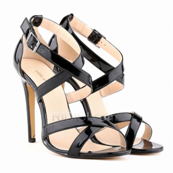 Sandales Femme Haut Talon Aiguilles Chaussure Femme Cuir Vernis Lanières