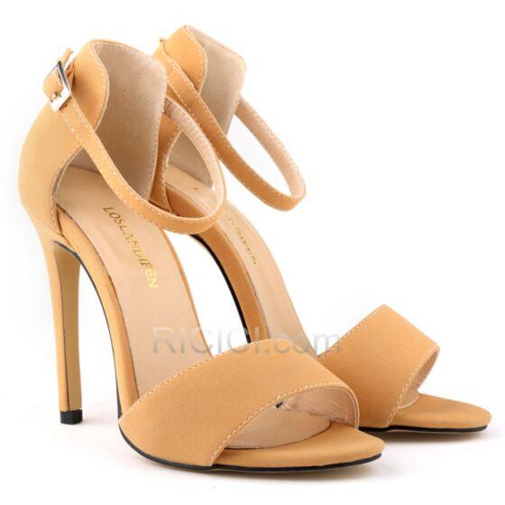 Nude Similicuir A Bride Cheville Suède Talons Aiguilles Bout Ouvert Sandales Haut Simple Chaussure