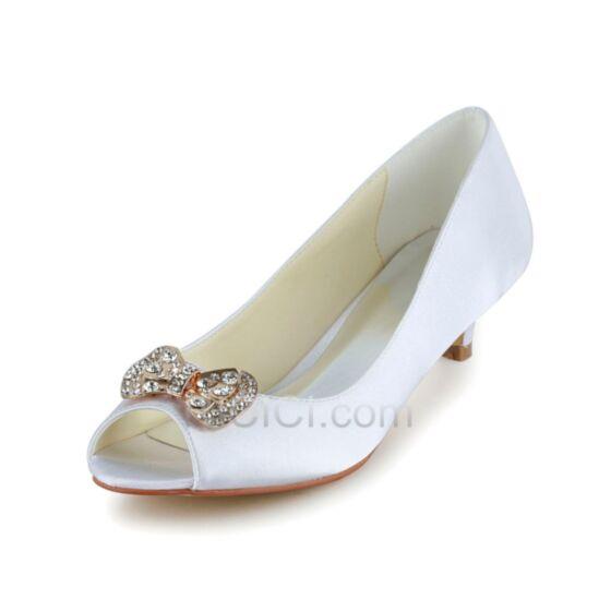 5 cm / 2 inch Satin Bout Ouvert Aiguilles Blanche Noeud Talons Petit Chaussure Mariée Demoiselle D'honneur Escarpins