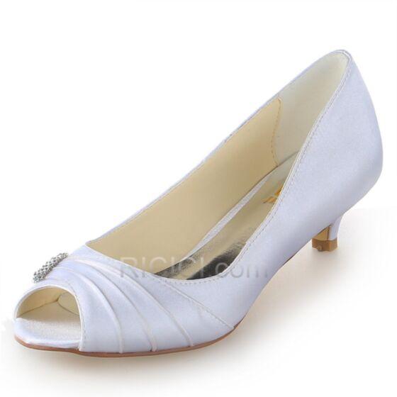 Talons 5 cm / 2 inch Petit Satin Volantée Strass Aiguilles Escarpins Mariée Demoiselle D'honneur Chaussure Femme Blanche Bout Ouvert